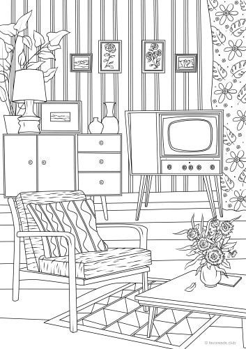 Retro Living Room Printable Adult Coloring Pages Printable