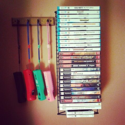Video game wall organization and key holder to organize wii/wii u controllers