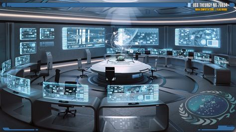 Created as a visual guide for the Star Trek: Theurgy writers. The Main Computer Core, which houses Thea's positronic brain core, and also serves as a Flag Bridge as required. A flag br. Spaceship Interior, Futuristic Interior, Spaceship Design, Futuristic Art, Futuristic Technology, Technology Gadgets, Tech Gadgets, Armes Futures, Sci Fi Environment