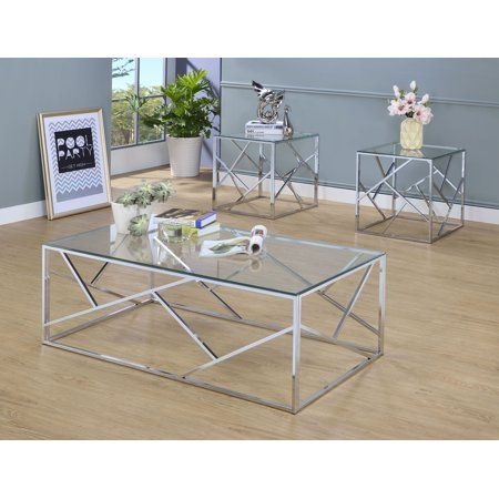 Furniture Of America Elliot 3 Piece Gold Coffee Table Set