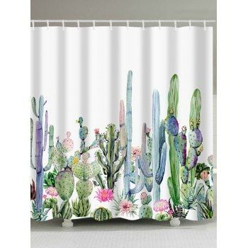 Free Shipping 2018 Green Plants Cactus Flowers Print Shower