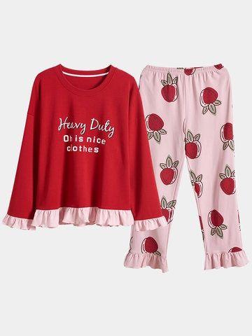 Plus Size Cotton Print Pajamas Sets Round Neck Women Sleepwear For Spring Winter In 2020 Sleepwear Women Cotton Pajamas Women Print Pajamas