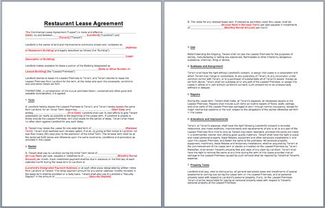 Restaurant Lease Agreement Template business templates - business separation agreement template