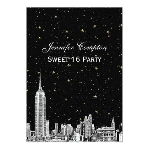 NYC Skyline Etched Starry DIY BG Color Sweet 16 Invitation #new #york #city #new #york #Invitation
