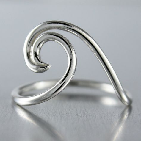 Silver Wave Ring, Ocean Jewelry, Nautical Design, Sterling Silver Ring