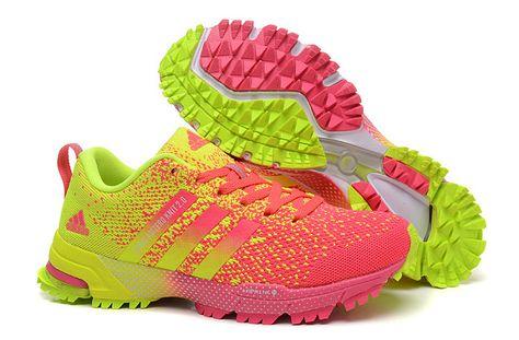 Women Adidas Adizero Knit 2.0 Marathon Flyknit Pink Pow Flash Lime Electric  Green 02537dae8ce9