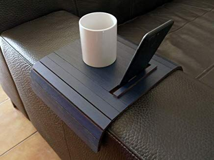 Wooden Slinky Sofa Table For Armrest With Iphone And Tablet Stand In Many Colors As Dark Blue Small Flexible Over The Cou Wooden Couch Tablet Stand Drink Stand