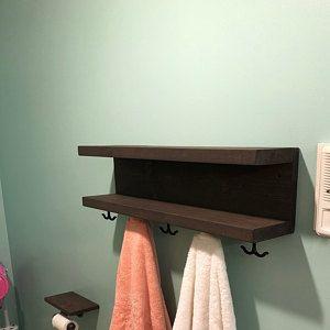 Rustic Four Tier Bathroom Shelf Bath Towel Rack Hotel Style In 2020 Shelves Bath Towel Racks Bathroom Shelves