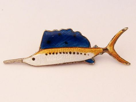 STERLING Silver Vintage Guilloche Swordfish Pin