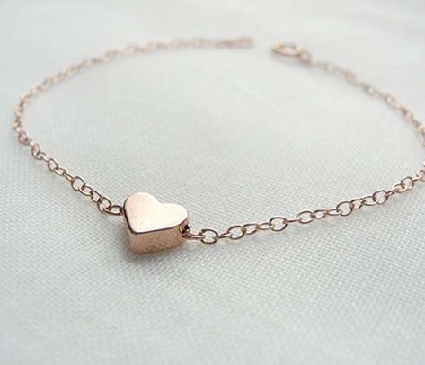 Rose Gold Heart Bracelet ~~ sweet gift