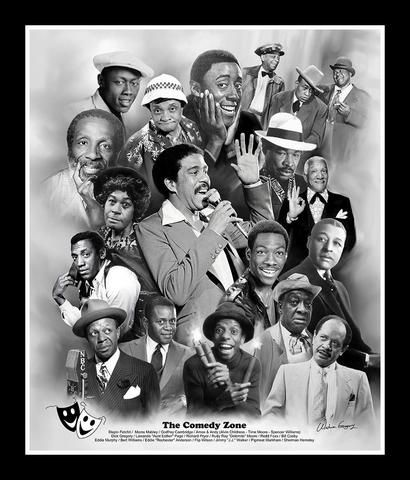 The Comedy Zone (Great African American Comedians) by Wishum Gregory (Art Print - 11x8.5 inches - Black Frame)