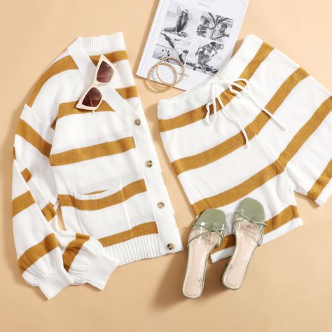 Button Front Striped Cardigan  Tie Waist Knit Shorts Set
