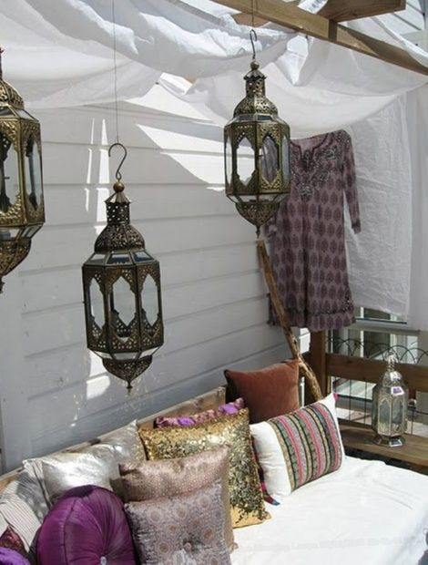 Traditional Indian Hanging Brass Lamps Look At This Sweet Little Spot Just Thrown Together Love The Pillows Those Bohemian Style Rooms Home Decor Decor