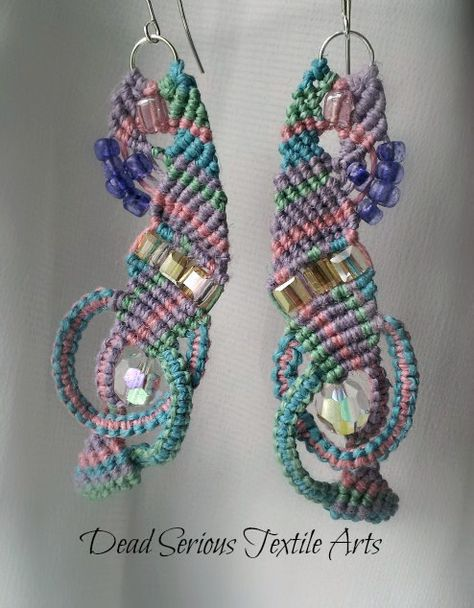 Pastel and Crystals Micro Macrame Earrings by DeadSerious2010