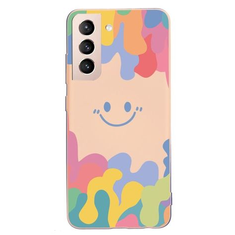 For Samsung Galaxy S21+ 5G Painted Smiley Face Pattern Liquid Silicone Shockproof Case(Pink)
