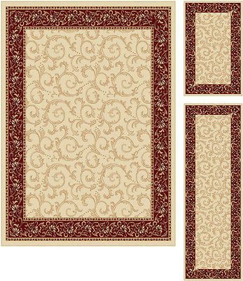 Universal Rugs Transitional Oriental 3 Piece Area Rug Set Beige