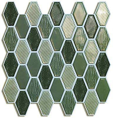 Amazon Com Peel And Stick Backsplash Tile For Kitchen In Green 6 Tiles Home Kitchen Backsplash Peel N Stick Backsplash Wallpaper Backsplash Kitchen