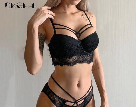 2019 Top Sexy Bra Set Push-Up Brassiere Bandage Black Embroidery Lingerie Sets Women Thick Gather Underwear Set Cotton Bras Lace