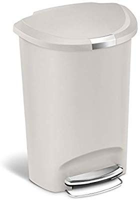 Simplehuman 50 Liter 13 Gallon Semi Round Kitchen Step Trash Can Stone Plastic With Secure Slide Lock Trash Can Simplehuman Round Kitchen Simple human trash can 13 gallon