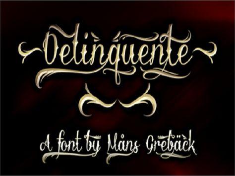 Cool Tattoo Fonts: Stunning Delinquente Demo Font Tattoo ~ tattoosartdesigns.com Tattoo Ideas Inspiration