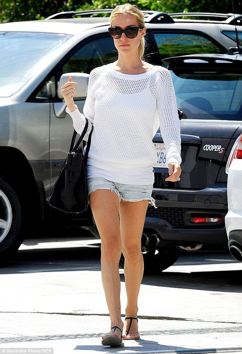 Kristin Cavallari wearing Kristin Cavallari For Chinese Laundry Gigi Patent Leather Thong Sandal, Mng by Mango Long-Sleeve Mesh Sweater, Celine Mini Luggage Tote Bag.