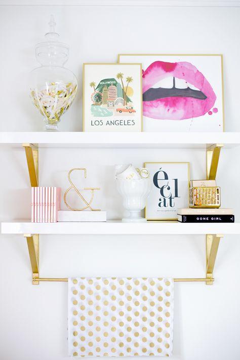 Chic gold & white shelves