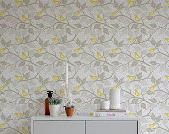 Branch Birds Wallpaper Yellow Birds Birds Branch Peel And Stick Wallpaper Removable Watercolor Floral Wallpaper Peony Wallpaper Removable Wallpaper Nursery