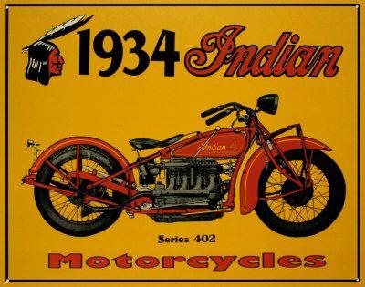 1934 Indian Motorcycles Placa de lata