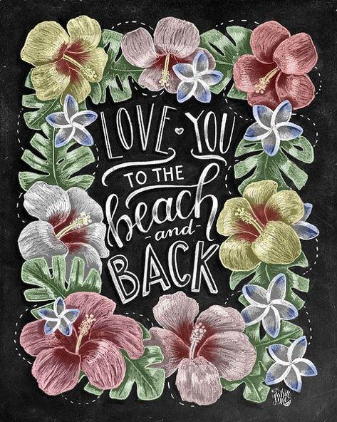 Beach Print Beach Sign Beach Art Tropical Print by TheWhiteLime