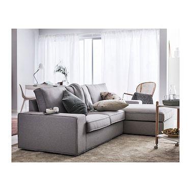 KIVIK Sofá 3 plazas Orrsta +chaiselongue, Orrsta gris