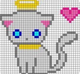 Grey Angel Cat Pixel Art Templates Minecraft Pixel Art