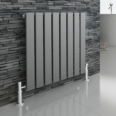 MODERN DESIGNER ANTHRACITE FLAT PANEL HORIZONTAL RADIATOR HEATER 600X604 | eBay