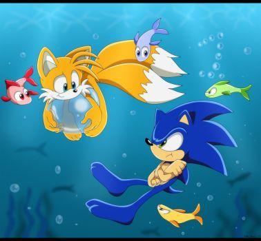 Sonictailsunderwater2 By Montyth Sonic The Hedgehog Sonic Fotos Sonic