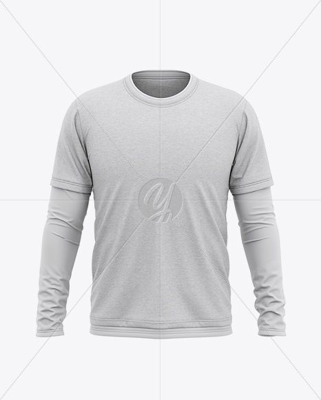Download Men S Heather Double Layer Long Sleeve T Shirt Mockup Front View In Apparel Mockups On Yellow Images Object Mockups Clothing Mockup Shirt Mockup Shirts