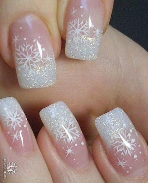Acrylic Snowflake Manicure  - 20 Snowflake Nail Ideas Perfect for a Winter Wonderland - Photos