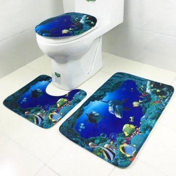 3Pcs Set Bathroom Non-Slip Shell Pebble Pedestal Rug+Lid Toilet Cover+Bath Mat