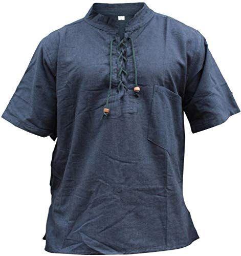 SHOPOHOLIC FASHION Mens Half Sleeved Hippie Grandad Shirt