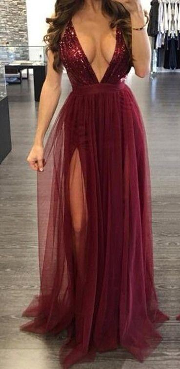 Vestido Largo De Noche Elegante Color Vino 2018 En 2019