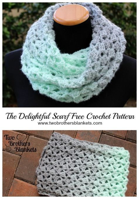 Delightful Scarf- Free Crochet Pattern - Two Brothers Blankets - - The Delightful Scarf crochet pattern is a free pattern using chunky weight yarn to create a gorgeous cowl or infinity scarf! Crochet Infinity Scarf Pattern, Chunky Crochet Scarf, Crochet Cowl Free Pattern, Crochet Beanie, Crochet Scarves, Crochet Shawl, Crochet Yarn, Easy Crochet, Crochet Blankets
