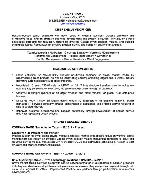 Chief Executive Officer Resume Sample -    resumesdesign - chief executive officer resume