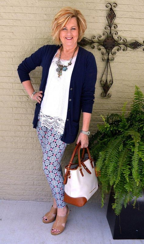 50 Is Not Old | Printed Leggings | Navy  White | Comfy  Casual | Fashion over 40 for the everyday woman. #springfashion2019trendsover50