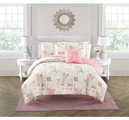 City Of Romance 5 Piece Paris Comforter Set Walmart Com Paris Decor Bedroom Paris Themed Bedroom Comforter Sets