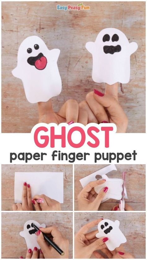 Ghost Paper Finger Puppet Craft for Kids   Halloween Crafts for Kids Halloween Crafts For Kids To Make, Halloween Art Projects, Halloween Paper Crafts, Halloween Kids, Halloween Activities, Halloween Themes, Halloween Crafts Kindergarten, Halloween Crafts For Preschoolers, Halloween Face Mask