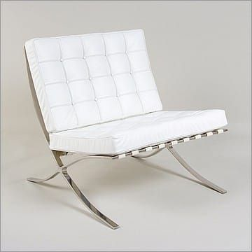 Mies Style Exhibition Chair Arctic White Leather Barcelona Chair White Leather Chair