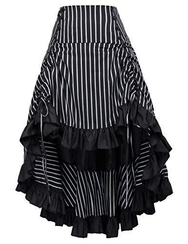 Steampunk Victorian Punk Bustle Skirt Asymmetric Skirt Pirate Costume BP345-1 2X