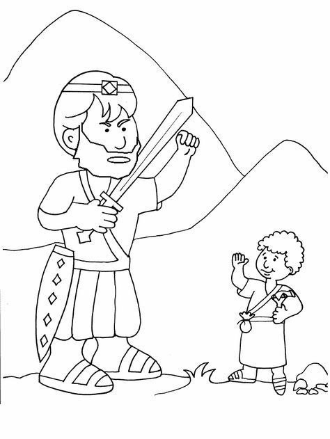 7 David And Goliath Coloring Pages Goliath And David The Good Guy Kidmin Bible Coloring Pages Bible Coloring David And Goliath