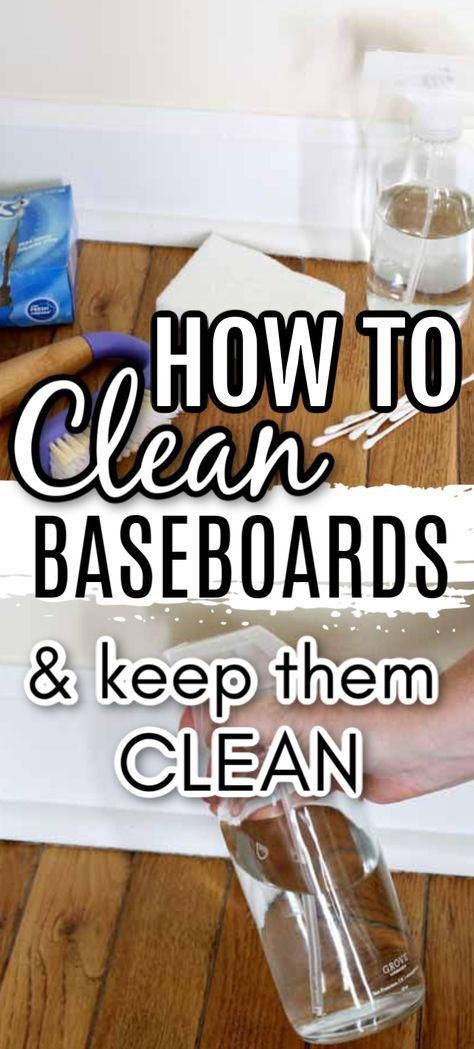 Did you know that there is a secret to keeping your baseboards cleaner longer? I am spilling this method for use in your home! Tips Tricks Clean baseboards and keep them clean! Diy Home Cleaning, Household Cleaning Tips, Cleaning Checklist, Cleaning Recipes, House Cleaning Tips, Spring Cleaning, Cleaning Hacks, Homemade Cleaning Supplies, Deep Cleaning Tips