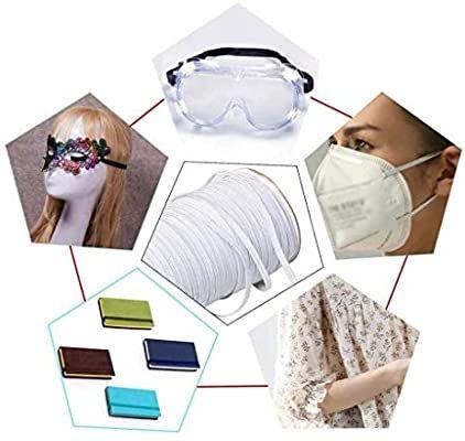 Bedspread Mask Cuff MYUREN 200 Yards Length 1//8 Inch Width Braided Elastic Band White Elastic Cord Heavy Stretch High Elasticity Knit Elastic Band for Sewing Crafts DIY