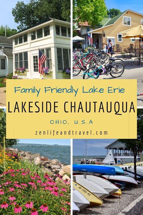 Lakeside Chautauqua --- A Family Friendly Lake Erie Weekend Getaway In Ohio – Zen Life and Travel Lakeside Ohio, Lake Erie Ohio, Ohio Destinations, Chautauqua Lake, Romantic Weekend Getaways, Ohio Weekend Getaways, Wisconsin, Michigan, Ohio Usa