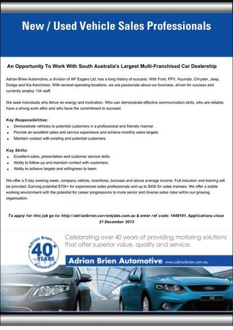 Job Advert Internet Car Sales Manager We are currently looking - car sales job description